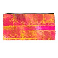 Yello And Magenta Lace Texture Pencil Cases by DanaeStudio