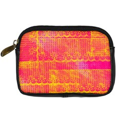 Yello And Magenta Lace Texture Digital Camera Cases by DanaeStudio