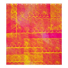 Yello And Magenta Lace Texture Shower Curtain 66  X 72  (large)  by DanaeStudio