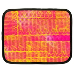 Yello And Magenta Lace Texture Netbook Case (xxl)  by DanaeStudio