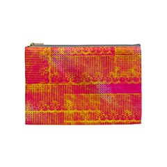 Yello And Magenta Lace Texture Cosmetic Bag (medium)  by DanaeStudio