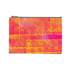 Yello And Magenta Lace Texture Cosmetic Bag (large)  by DanaeStudio