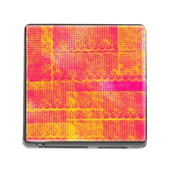 Yello And Magenta Lace Texture Memory Card Reader (square) by DanaeStudio