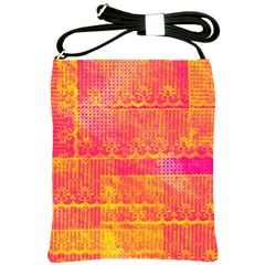 Yello And Magenta Lace Texture Shoulder Sling Bags by DanaeStudio