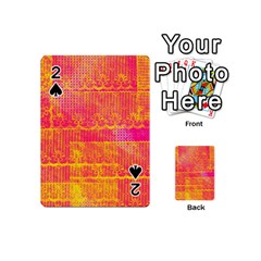 Yello And Magenta Lace Texture Playing Cards 54 (mini)  by DanaeStudio
