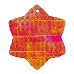 Yello And Magenta Lace Texture Snowflake Ornament (2 Side) by DanaeStudio