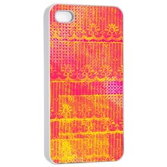 Yello And Magenta Lace Texture Apple Iphone 4/4s Seamless Case (white) by DanaeStudio
