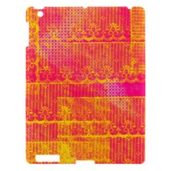 Yello And Magenta Lace Texture Apple Ipad 3/4 Hardshell Case by DanaeStudio