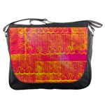 Yello And Magenta Lace Texture Messenger Bags Front
