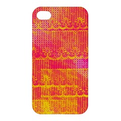 Yello And Magenta Lace Texture Apple Iphone 4/4s Premium Hardshell Case by DanaeStudio