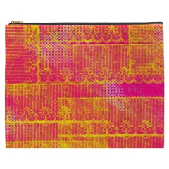 Yello And Magenta Lace Texture Cosmetic Bag (xxxl)  by DanaeStudio