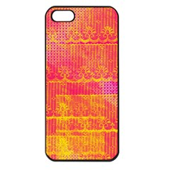Yello And Magenta Lace Texture Apple Iphone 5 Seamless Case (black) by DanaeStudio
