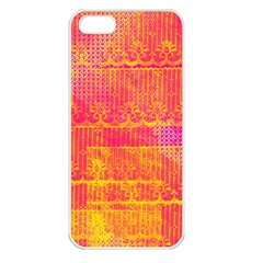 Yello And Magenta Lace Texture Apple Iphone 5 Seamless Case (white) by DanaeStudio