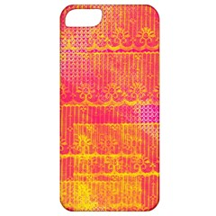 Yello And Magenta Lace Texture Apple Iphone 5 Classic Hardshell Case by DanaeStudio