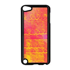 Yello And Magenta Lace Texture Apple Ipod Touch 5 Case (black) by DanaeStudio