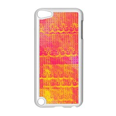 Yello And Magenta Lace Texture Apple Ipod Touch 5 Case (white) by DanaeStudio