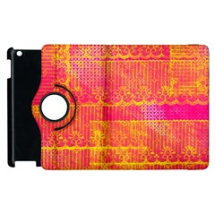 Yello And Magenta Lace Texture Apple Ipad 3/4 Flip 360 Case by DanaeStudio
