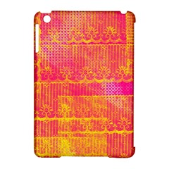 Yello And Magenta Lace Texture Apple Ipad Mini Hardshell Case (compatible With Smart Cover) by DanaeStudio