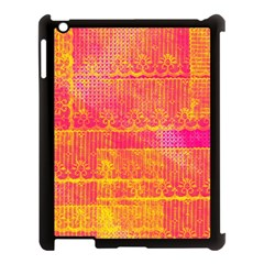 Yello And Magenta Lace Texture Apple Ipad 3/4 Case (black) by DanaeStudio