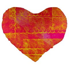 Yello And Magenta Lace Texture Large 19  Premium Heart Shape Cushions by DanaeStudio