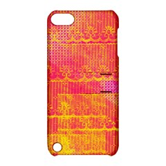 Yello And Magenta Lace Texture Apple Ipod Touch 5 Hardshell Case With Stand by DanaeStudio