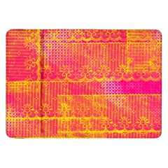 Yello And Magenta Lace Texture Samsung Galaxy Tab 8 9  P7300 Flip Case by DanaeStudio