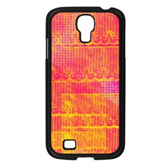 Yello And Magenta Lace Texture Samsung Galaxy S4 I9500/ I9505 Case (black) by DanaeStudio