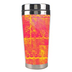 Yello And Magenta Lace Texture Stainless Steel Travel Tumblers by DanaeStudio