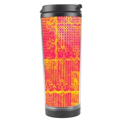 Yello And Magenta Lace Texture Travel Tumbler by DanaeStudio
