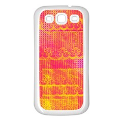 Yello And Magenta Lace Texture Samsung Galaxy S3 Back Case (white) by DanaeStudio