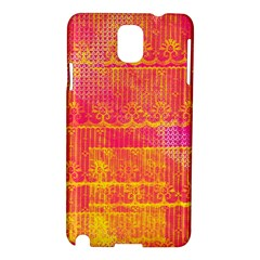Yello And Magenta Lace Texture Samsung Galaxy Note 3 N9005 Hardshell Case by DanaeStudio