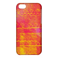 Yello And Magenta Lace Texture Apple Iphone 5c Hardshell Case by DanaeStudio