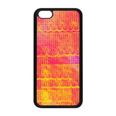 Yello And Magenta Lace Texture Apple Iphone 5c Seamless Case (black) by DanaeStudio