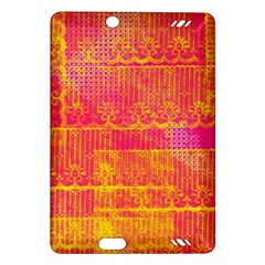 Yello And Magenta Lace Texture Amazon Kindle Fire Hd (2013) Hardshell Case by DanaeStudio
