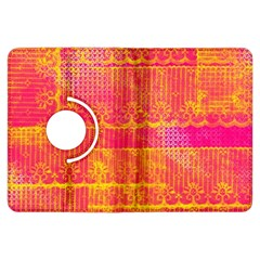 Yello And Magenta Lace Texture Kindle Fire Hdx Flip 360 Case by DanaeStudio
