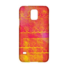 Yello And Magenta Lace Texture Samsung Galaxy S5 Hardshell Case  by DanaeStudio