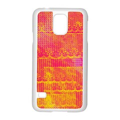 Yello And Magenta Lace Texture Samsung Galaxy S5 Case (white) by DanaeStudio