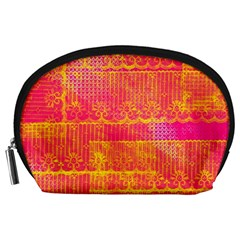 Yello And Magenta Lace Texture Accessory Pouches (large)  by DanaeStudio