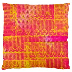 Yello And Magenta Lace Texture Large Flano Cushion Case (one Side) by DanaeStudio