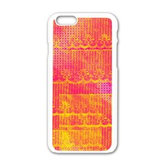 Yello And Magenta Lace Texture Apple Iphone 6/6s White Enamel Case by DanaeStudio