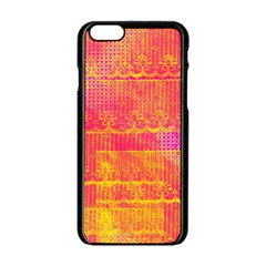 Yello And Magenta Lace Texture Apple Iphone 6/6s Black Enamel Case by DanaeStudio