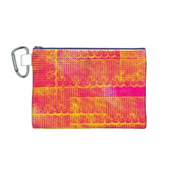 Yello And Magenta Lace Texture Canvas Cosmetic Bag (m) by DanaeStudio