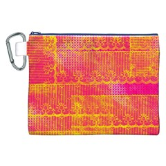 Yello And Magenta Lace Texture Canvas Cosmetic Bag (xxl) by DanaeStudio