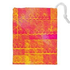 Yello And Magenta Lace Texture Drawstring Pouches (xxl) by DanaeStudio