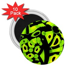 Green Neon Abstraction 2 25  Magnets (10 Pack)  by Valentinaart