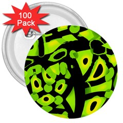 Green Neon Abstraction 3  Buttons (100 Pack)  by Valentinaart