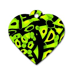 Green Neon Abstraction Dog Tag Heart (two Sides) by Valentinaart