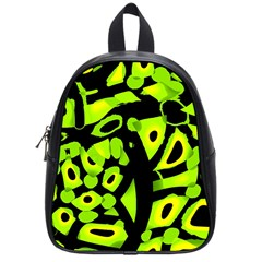 Green Neon Abstraction School Bags (small)  by Valentinaart