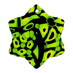 Green Neon Abstraction Ornament (snowflake)  by Valentinaart
