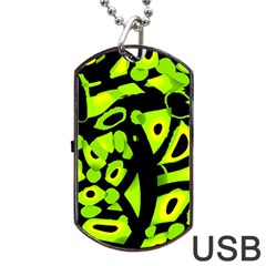 Green neon abstraction Dog Tag USB Flash (One Side) by Valentinaart